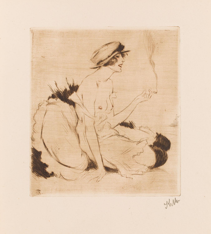 """""""Dziewczyna z papierosem"""" z cyklu """"W buduarze"""", około1920"""
