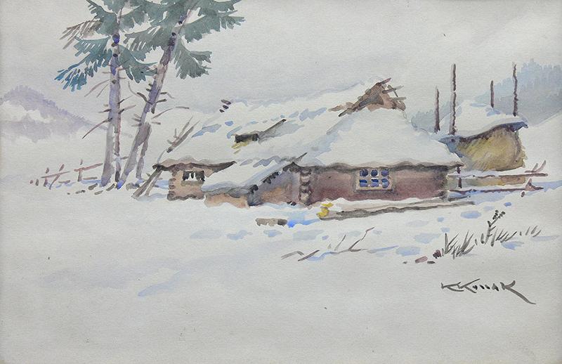 Chaty w śniegu