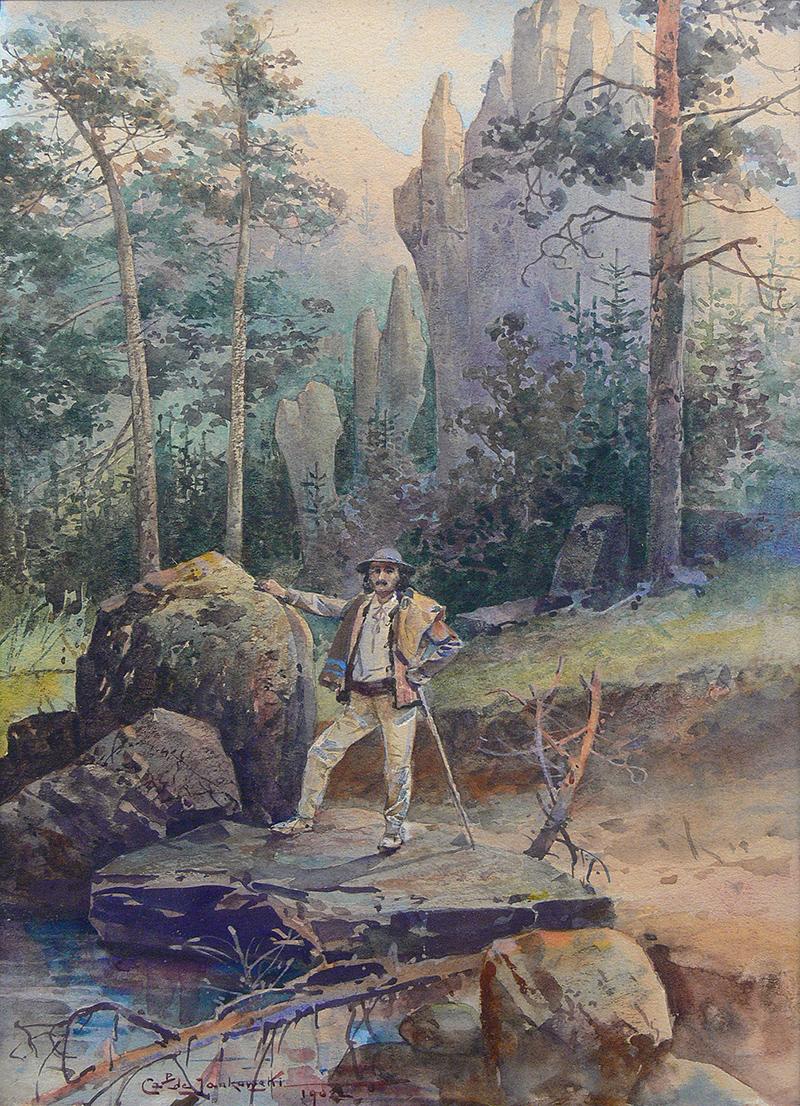 Góral na tle pejzażu tatrzańskiego, 1902 r.