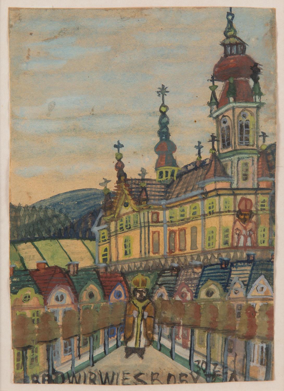 Widok kościoła z biskupem