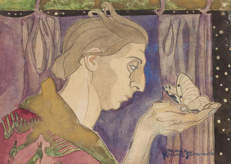 Scena symboliczna - kobieta z motylem