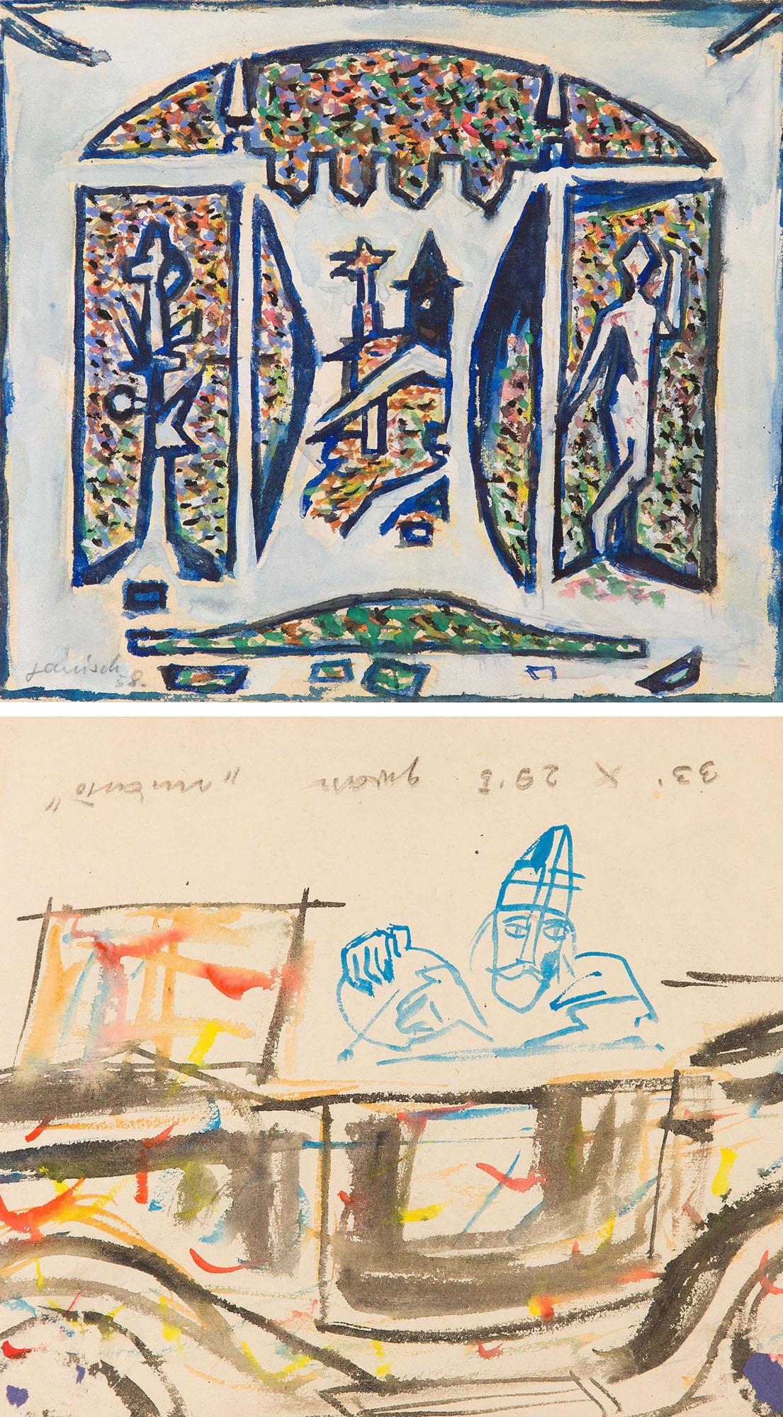 """""""Miasto"""" (Recto) / Szkic kompozycji (Verso), 1958"""