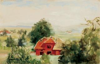 Kalwaria – pejzaż z budowanym domem, ok. 1970