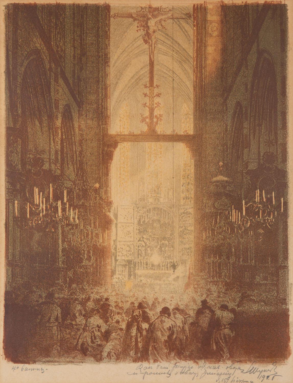 Wnętrze kościoła Mariackiego z ołtarzem Wita Stosza podczas nabożeństwa, 1925 lub 1926