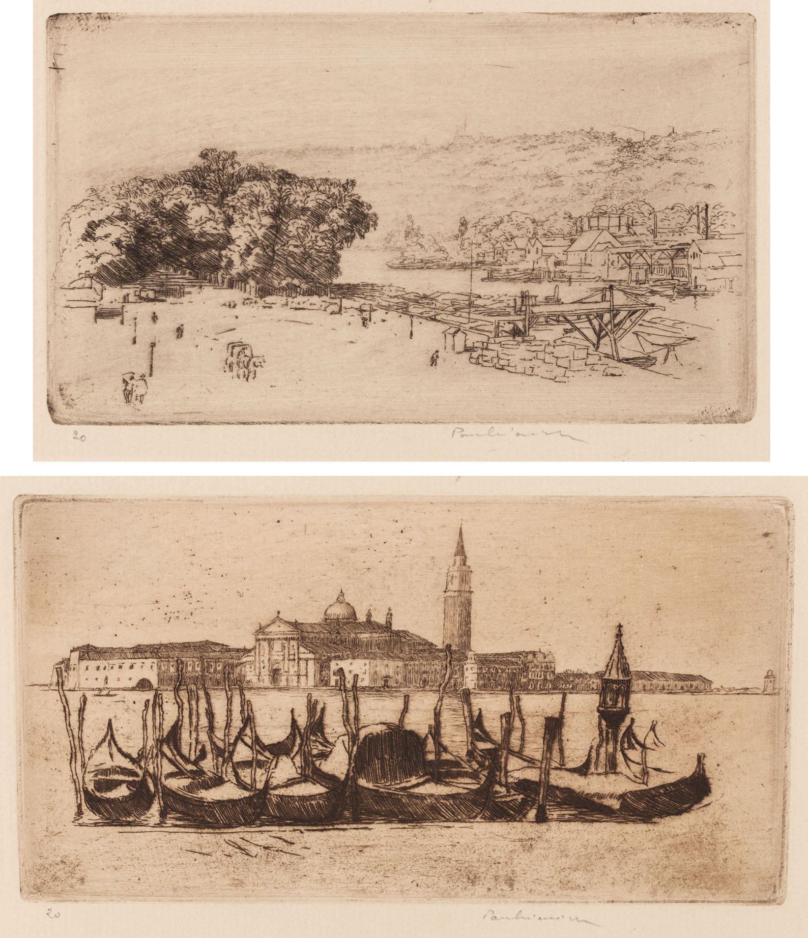 Le Cours-la-Reine, Rouen - Gondole w Wenecji (dwie kompozycje odbite na jednym arkuszu), 1904