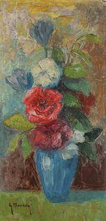 Bukiet kwiatów w niebieskim wazonie