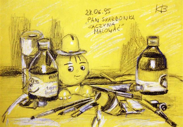 Pan skarbonka zaczyna malować, 1995