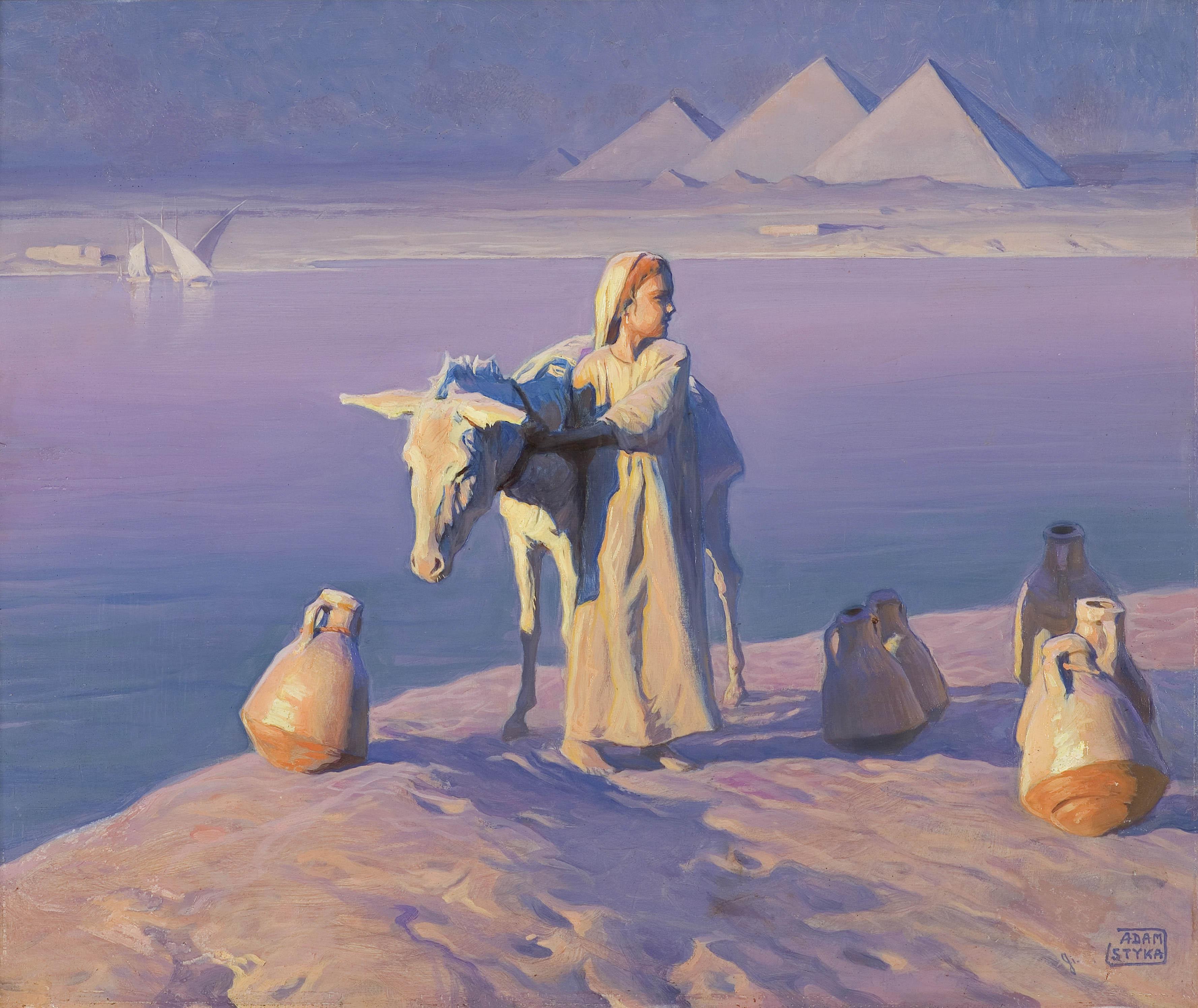 PIRAMIDY W GIZEH. MAŁA EGIPCJANKA Z OSIOŁKIEM, przed 1930