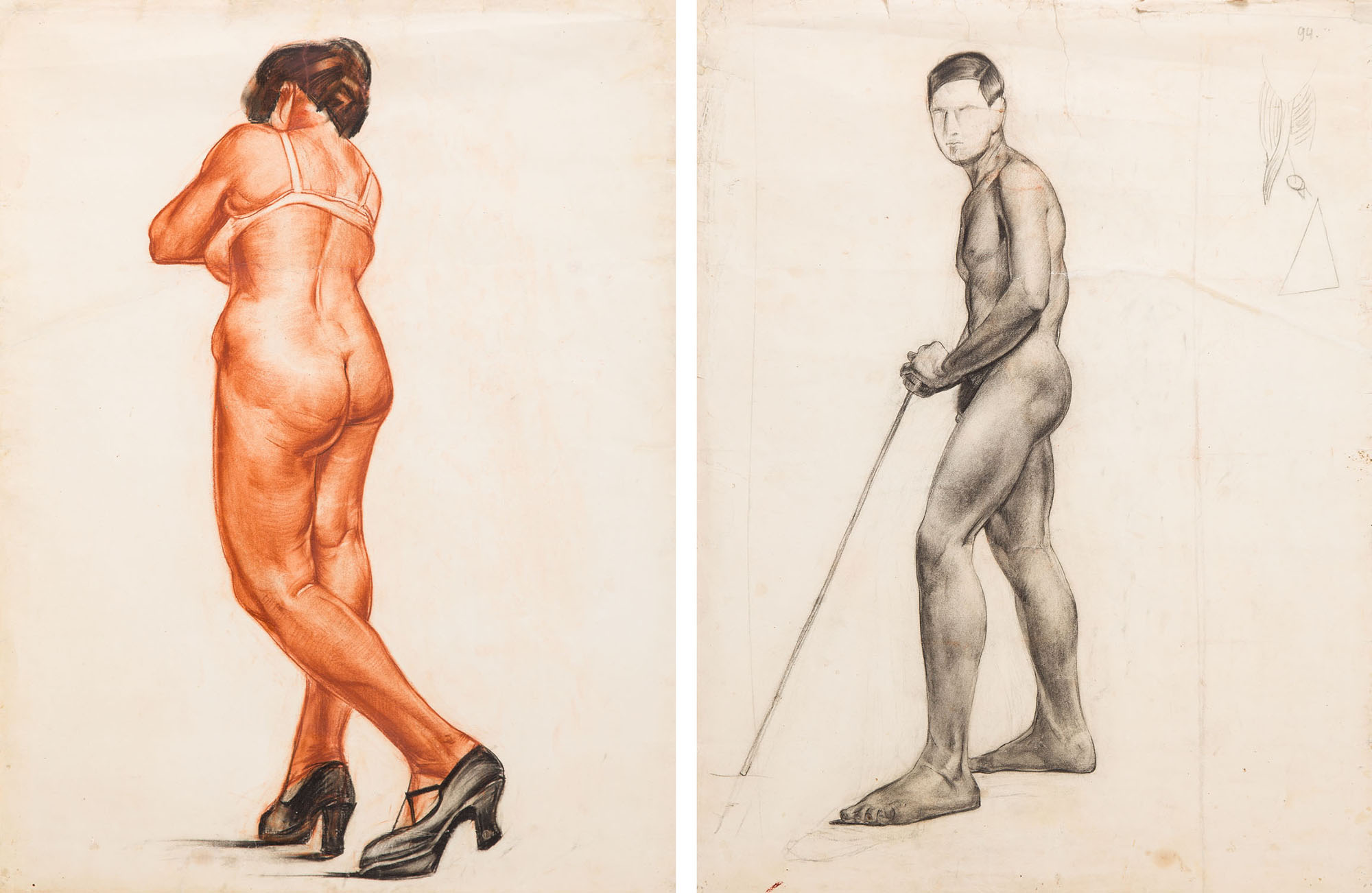 Akt stojącej kobiety w pantoflach na obcasach (Recto) / Akt stojącego mężczyzny (Verso), 1922
