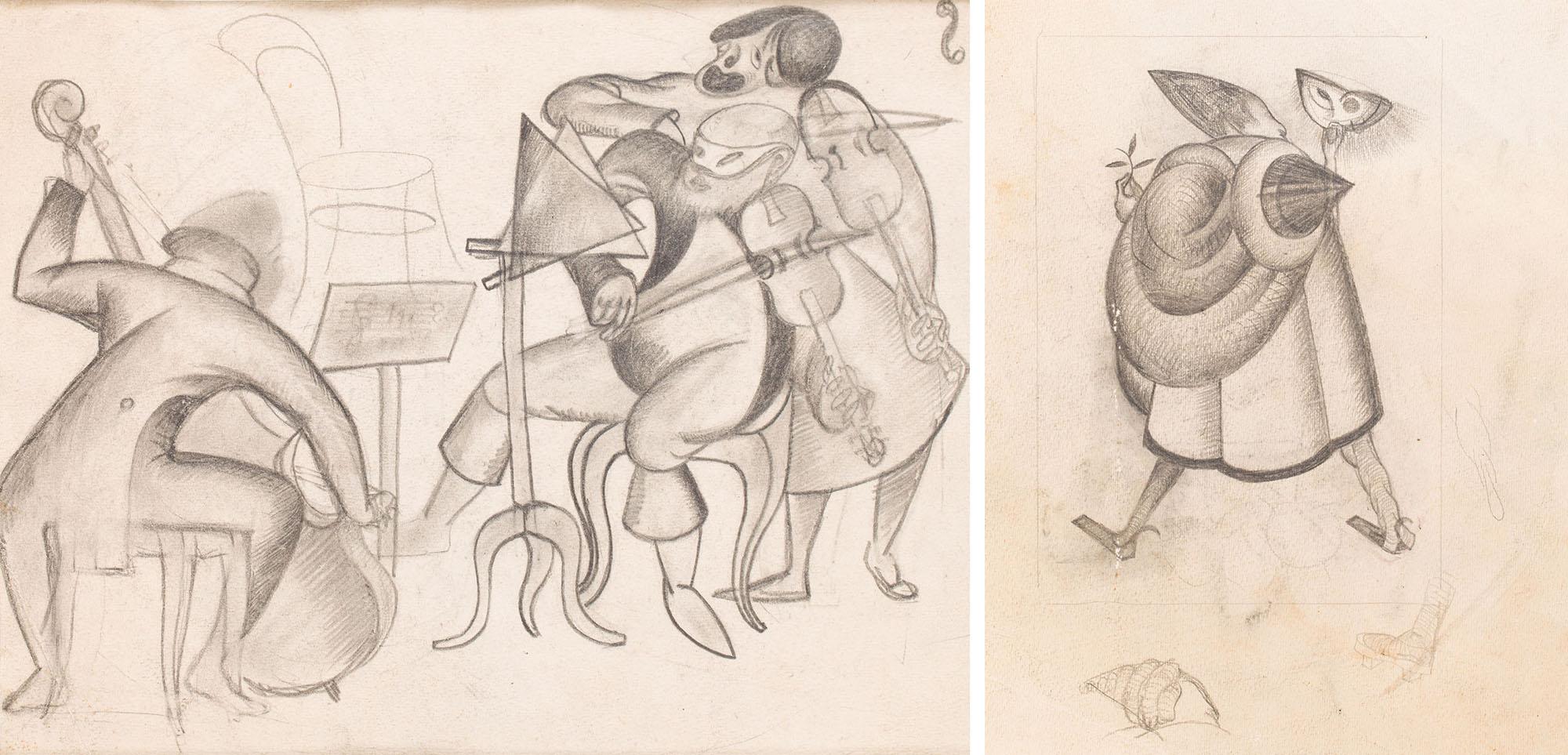 Koncert (Recto) / Stylizowana postać kobiety (Verso) , około  1920