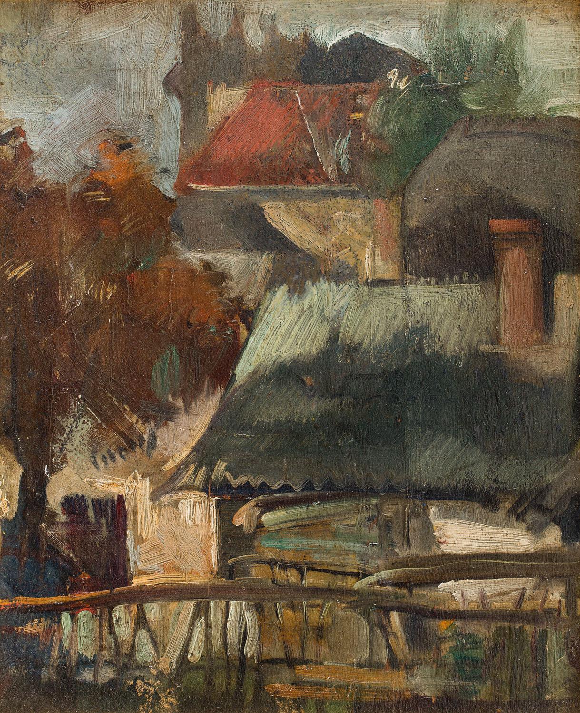 Pejzaż z chatą, około 1925