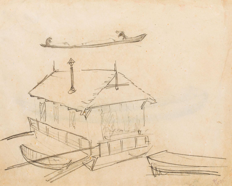Przystań na Wiśle (Recto) / Szkic łodzi (Verso), 1925