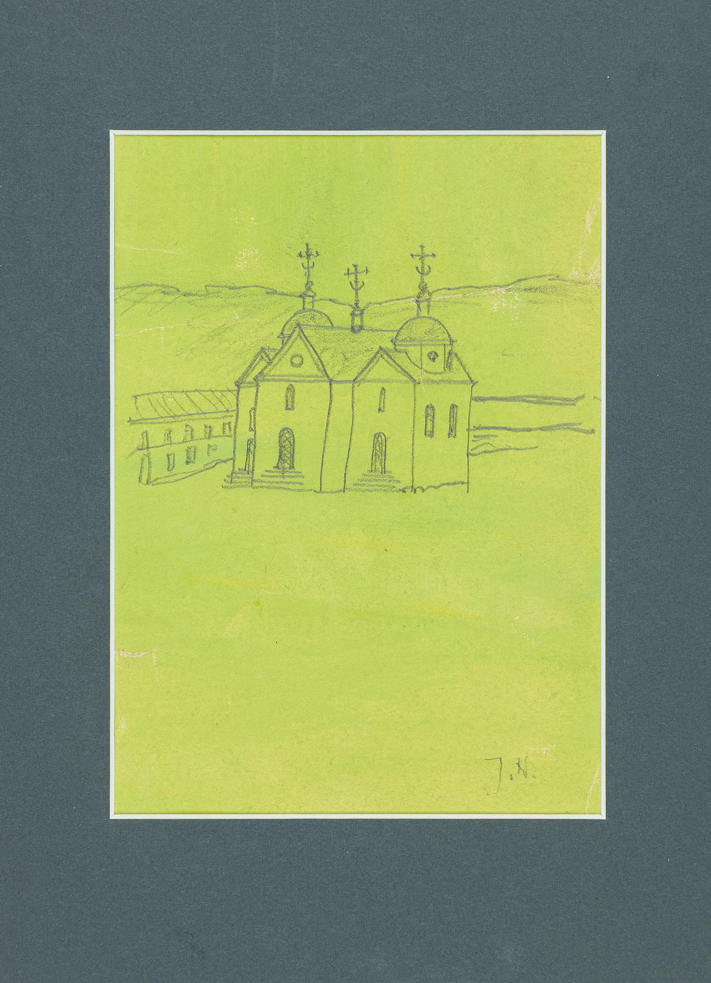 Cerkiew murowana na zielonym tle / na odwrocie szkic wsi z drewnianą cerkwią zrębową