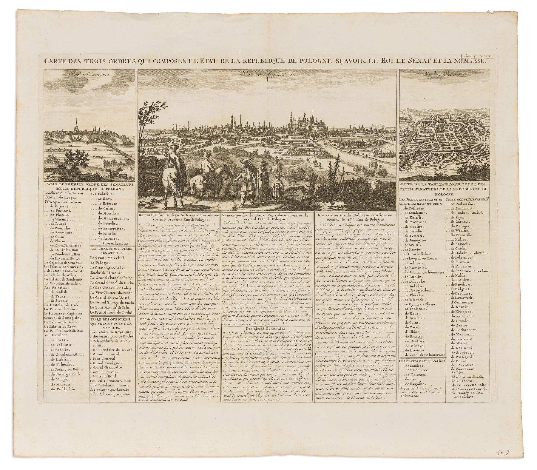 Carte Des Trois Ordres Qui Composent L'Etat De La Republique De Pologne: Sçavoir Le Roi, Le Senat Et La Noblesse, 1715