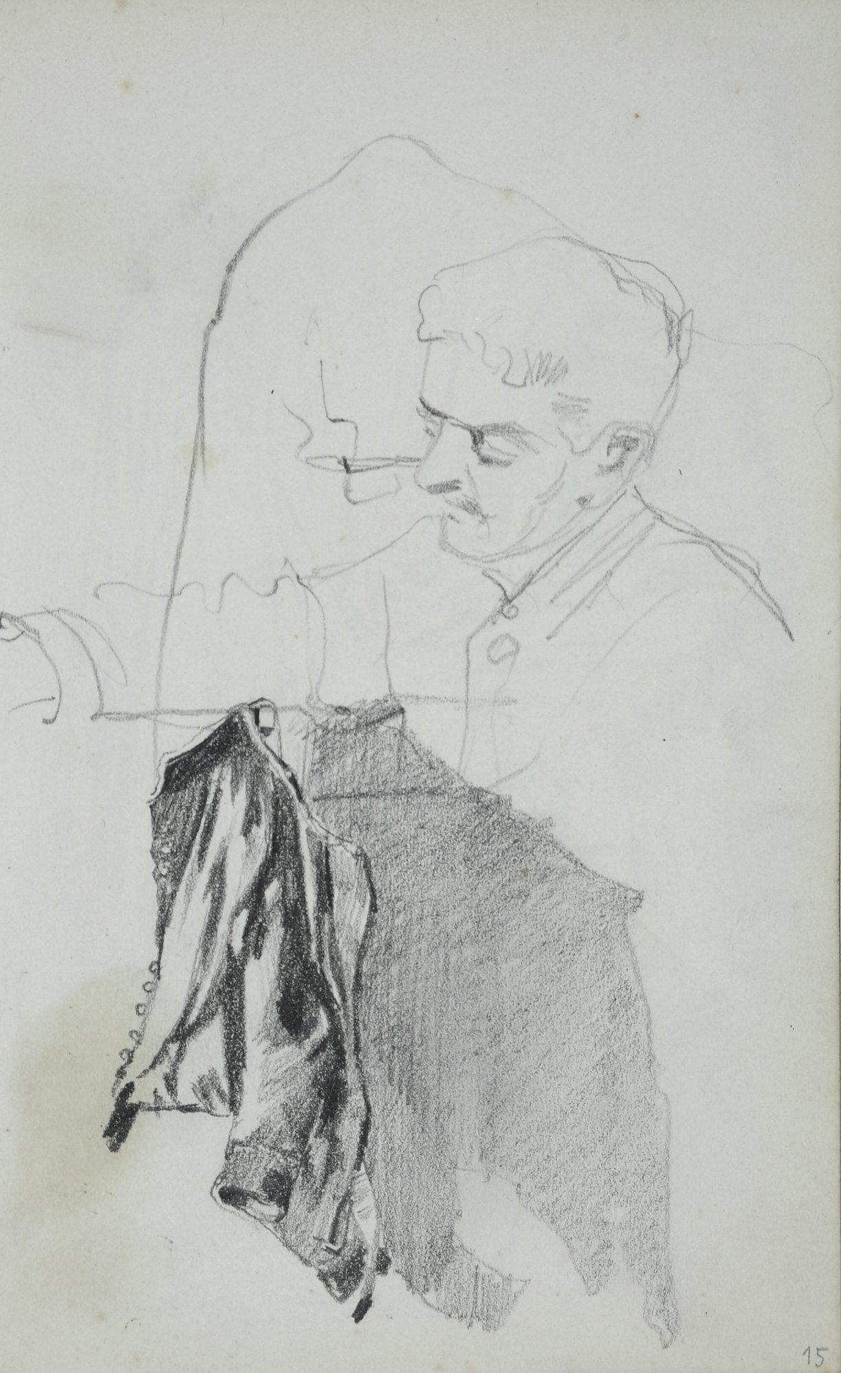 Popiersie młodego mężczyzny oraz studium światłocieniowe wiszącego surduta