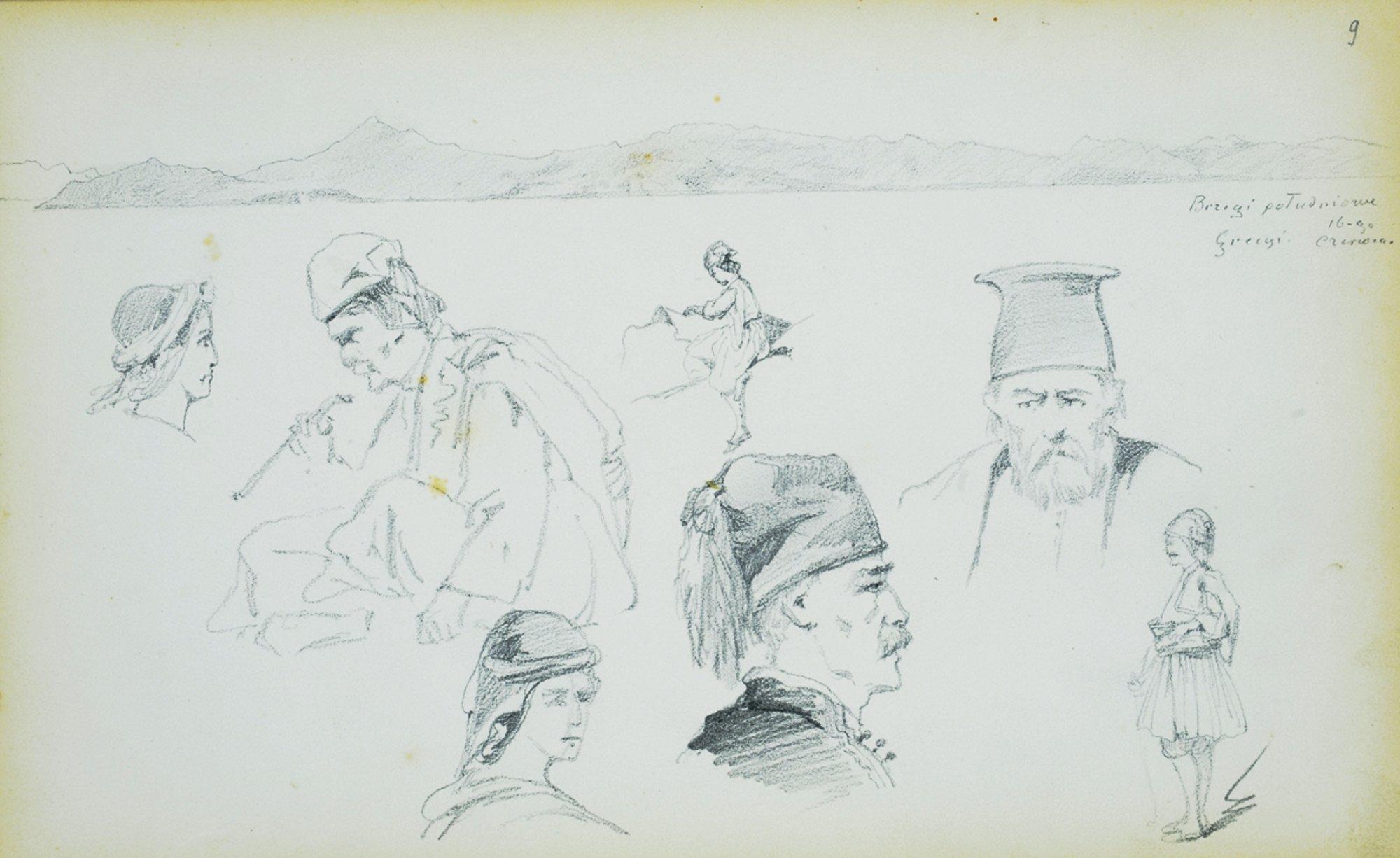 Szkice postaci z pejzażem w tle