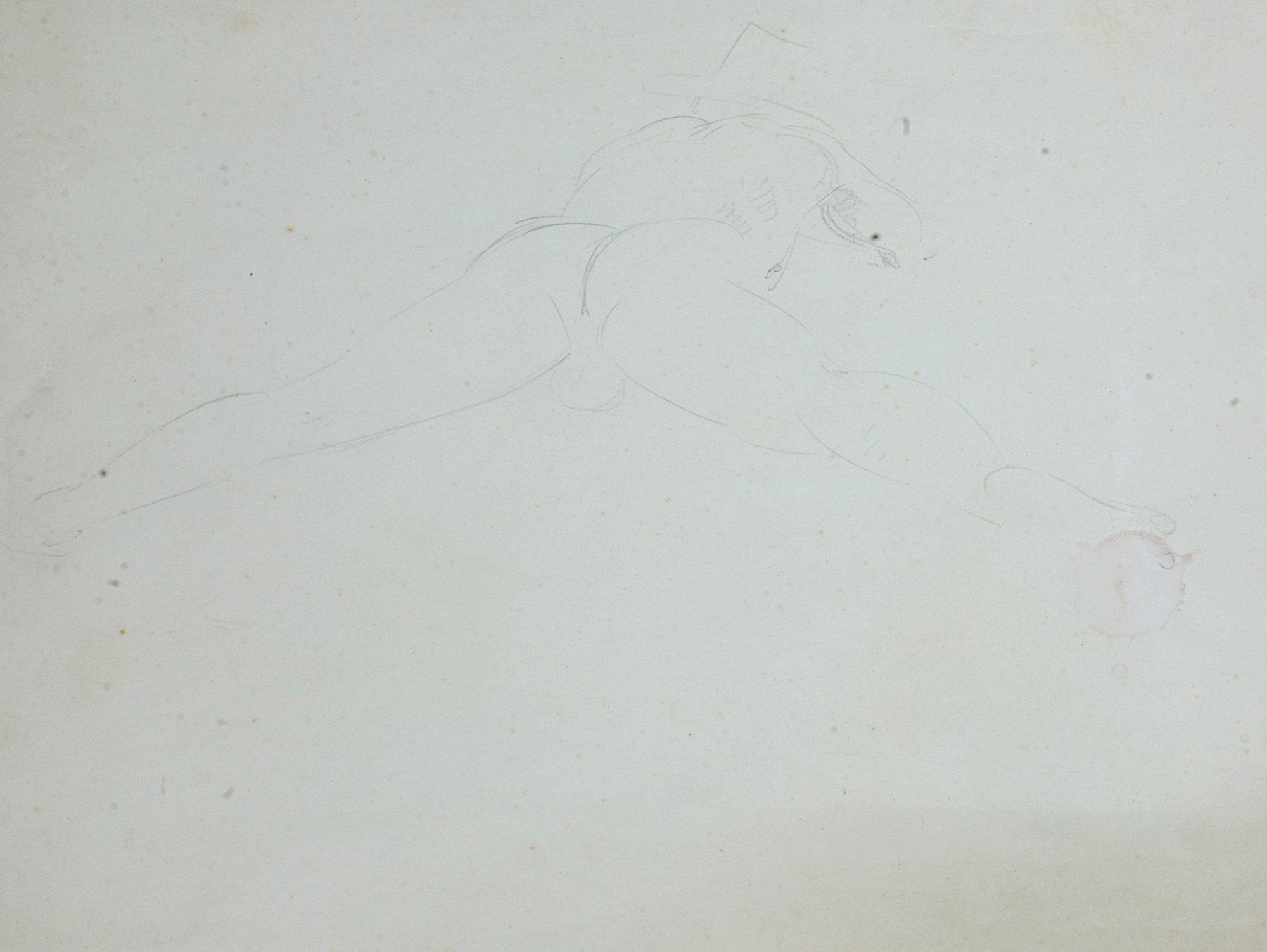 Szkic aktu mężczyzny leżącego na brzuchu, ok. 1910
