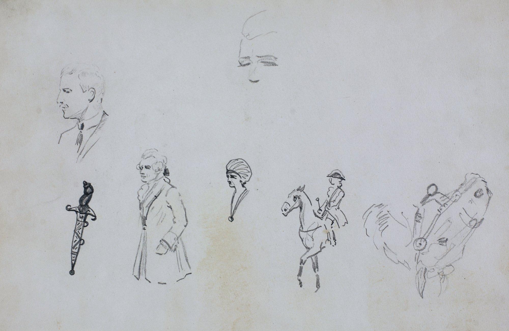 Szkice postaci, jeźdźca, głowy konia, sztyletu, 1922