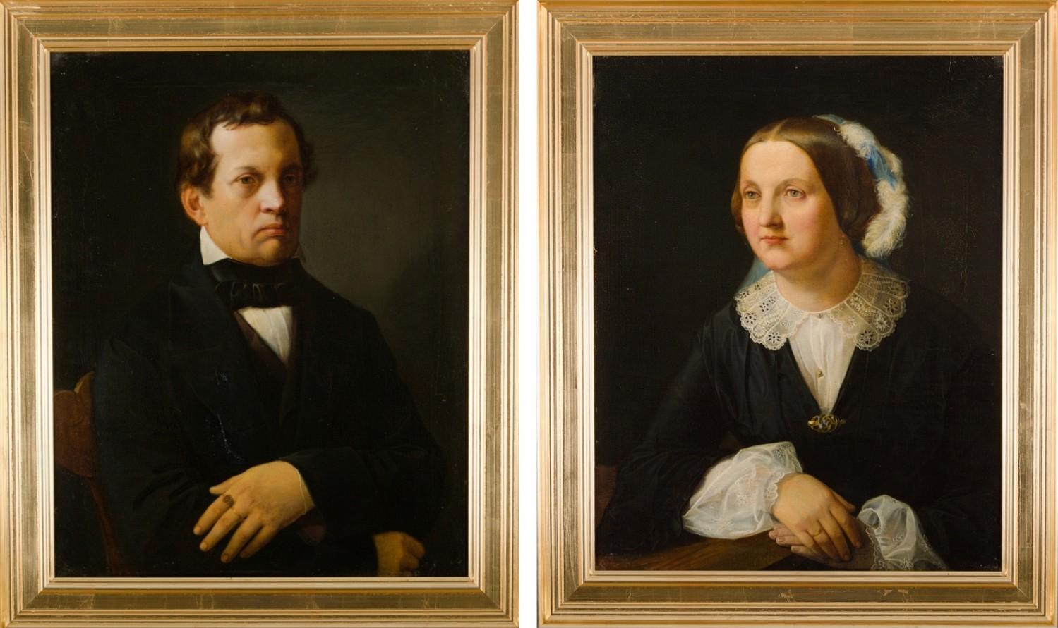Para portretów - Paulina oraz Antoni Giebułtowscy, 1858