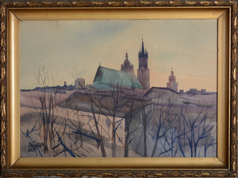 Panorama Krakowa z Kościołem Mariackim