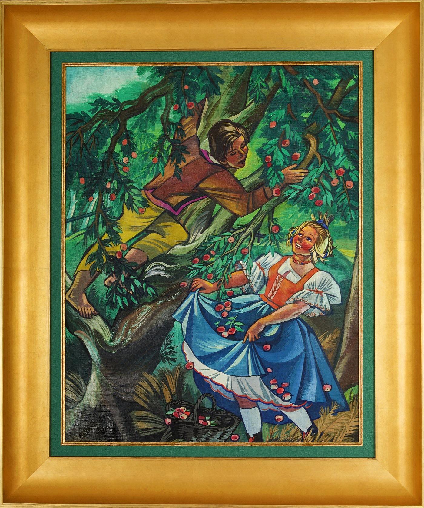 Zrywanie jabłek, ok. 1960