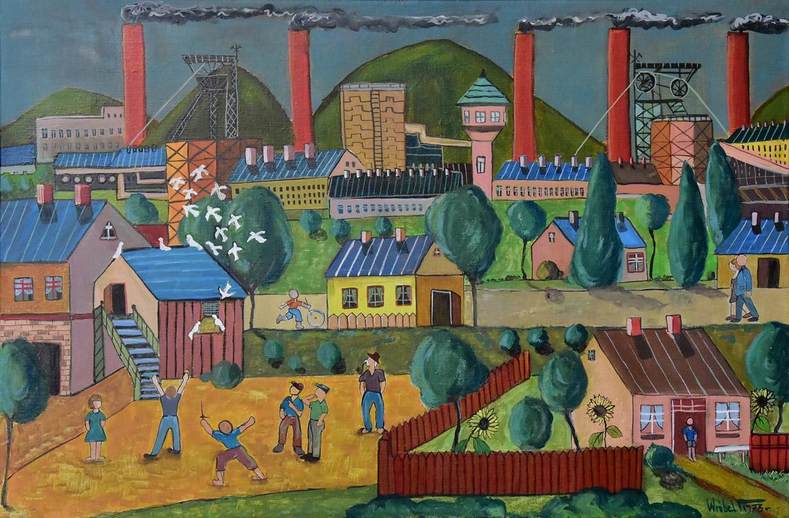 """""""Pejzaż śląski z gołębnikiem"""", 1973"""
