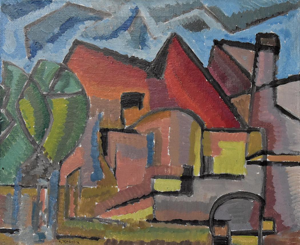 """""""Pejzaż z czerwonym dachem"""", 1977"""