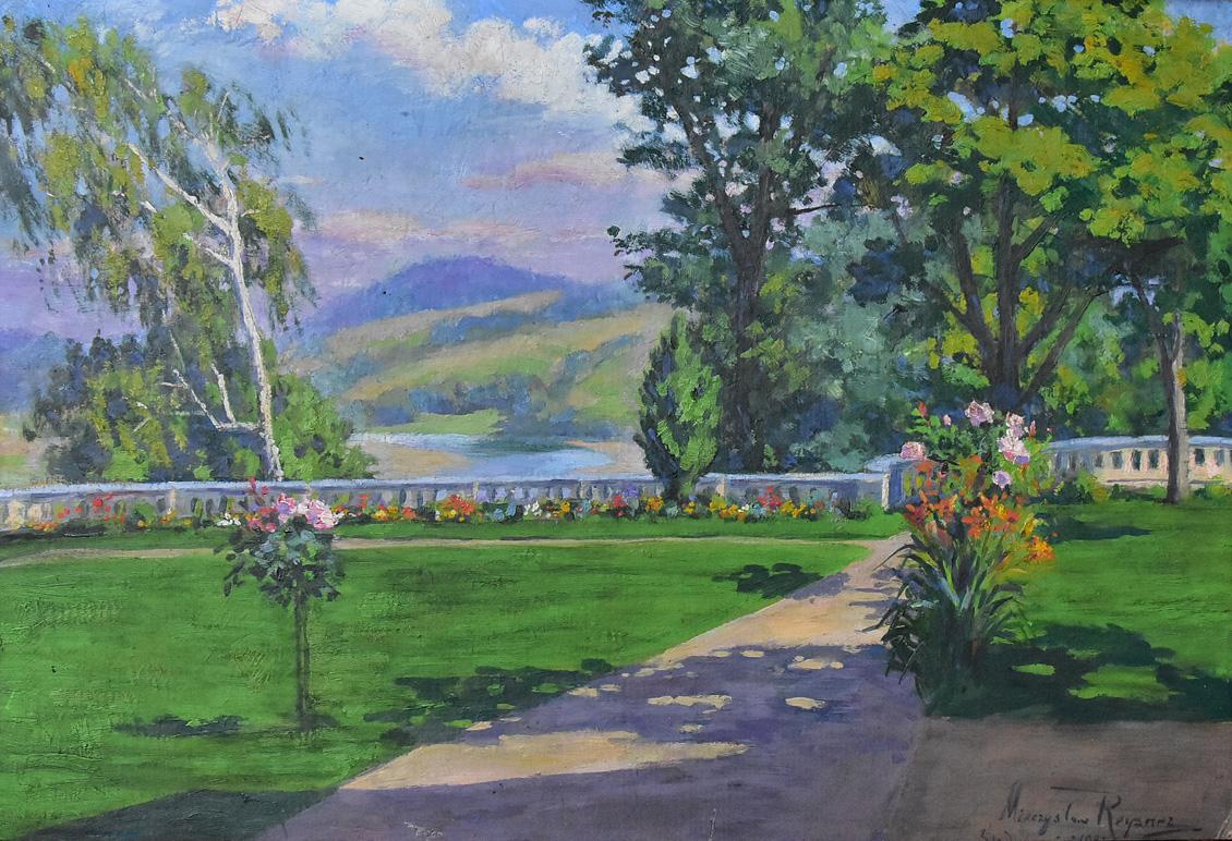 """""""Widok parku przy pałacu w Średniej Wsi"""", 1932"""