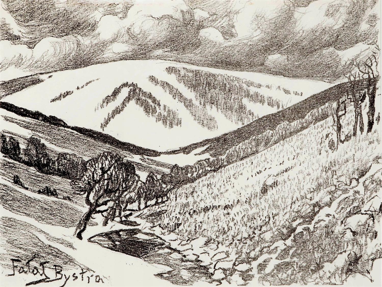 Klimczok widziany z Bystry z Teki autolitografii Czartaka, 1928