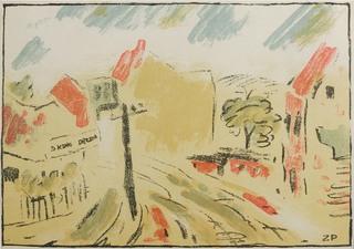 Ulica w Suchej z Teki autolitografii Czartaka, 1928