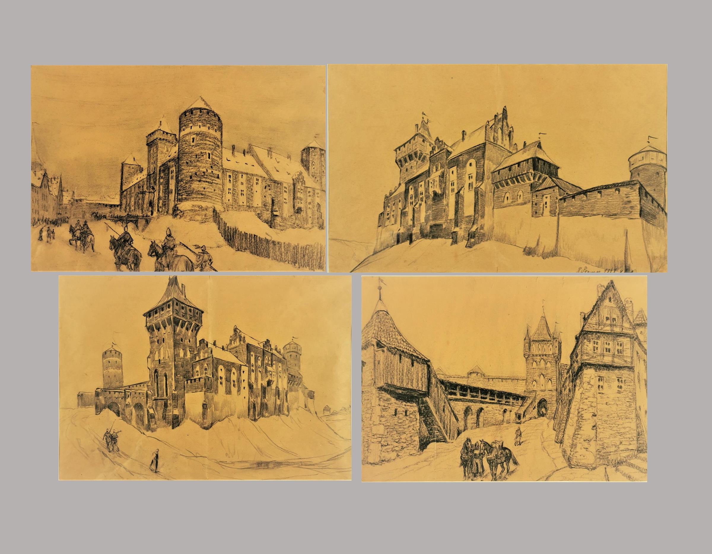 Imaginacje na temat średniowiecznej architektury - cztery rysunki