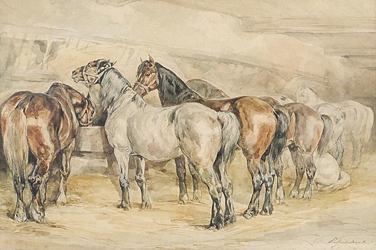 Konie w stajni, 1832-1835