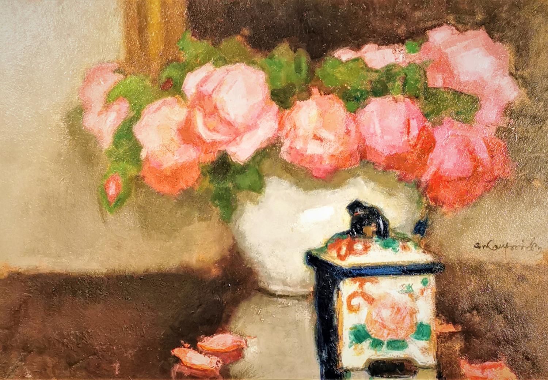 Róże i porcelanowe puzderko