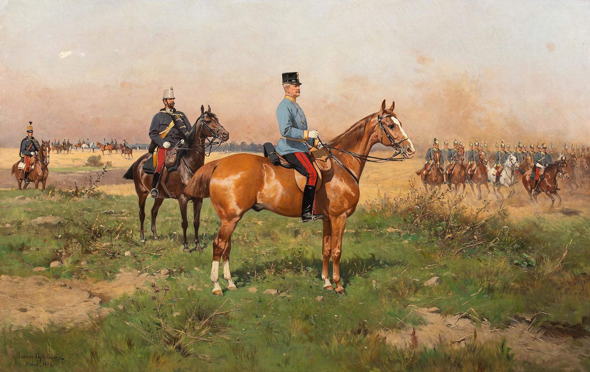 Generał książę Leopold von Croy w stroju konnym na manewrach, 1888
