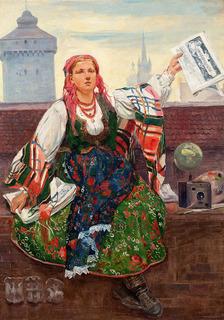 Kobieta sprzedająca gazety, 1907