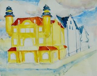 Dom w mieście i fragment zabudowy ulicy – studium perspektywy, ok. 1898