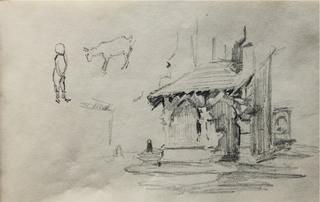 Luźne szkice: fragment kościoła św. Barbary w Krakowie, szkic dziecka i kozy