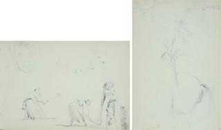 Kobiety pracujące w polu, kobieta na spacerze oraz szkice domowego twarzy dziewczęcej, ok. 1900