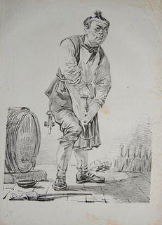 """Piwniczy odkorkowujący butelkę (z cyklu """"Collection de A.Orlowski"""")"""