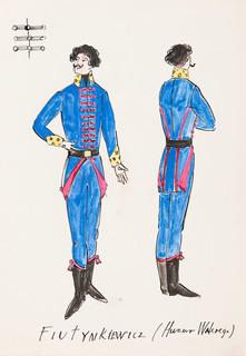 """Projekt kostiumu Fiutynkiewicza (Huzara Walerego) w sztuce """"Szkoła obmowy"""", 1963"""