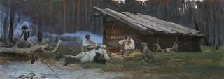 PRZY OGNISKU. PO POLOWANIU W NIEŚWIEŻU, 1889
