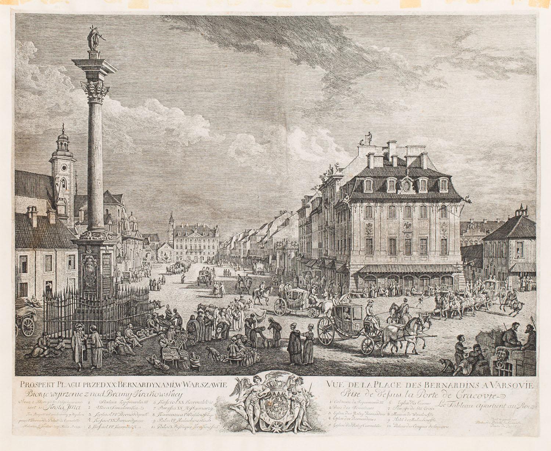 """""""Prospekt placu bernardyńskiego w Warszawie"""" (Plac Zamkowy z kolumną Zygmunta III w Warszawie), 1771"""