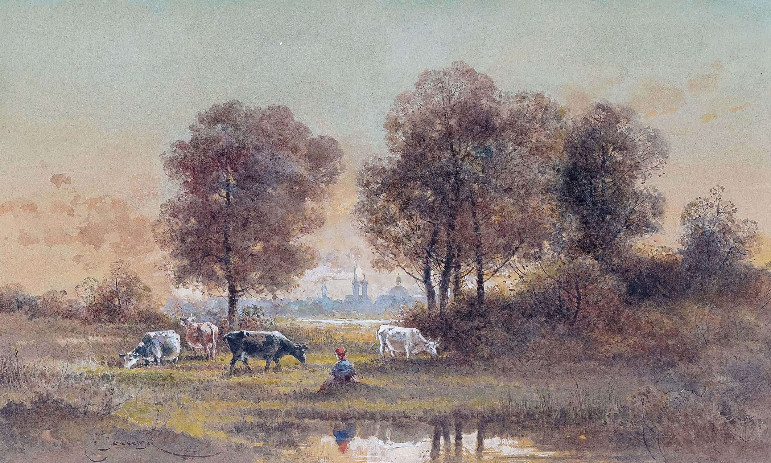Pejzaż z pastuszką krów i Krakowem w tle, 1887