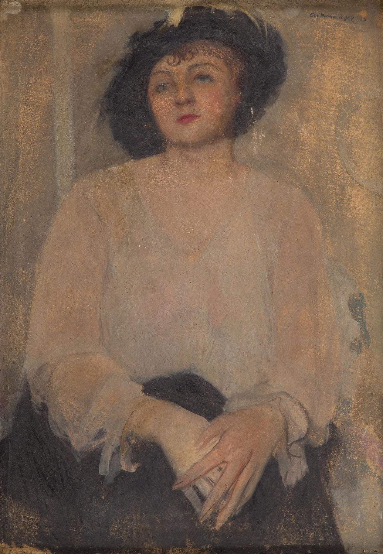 Portret damy w czarnym kapeluszu, 1910