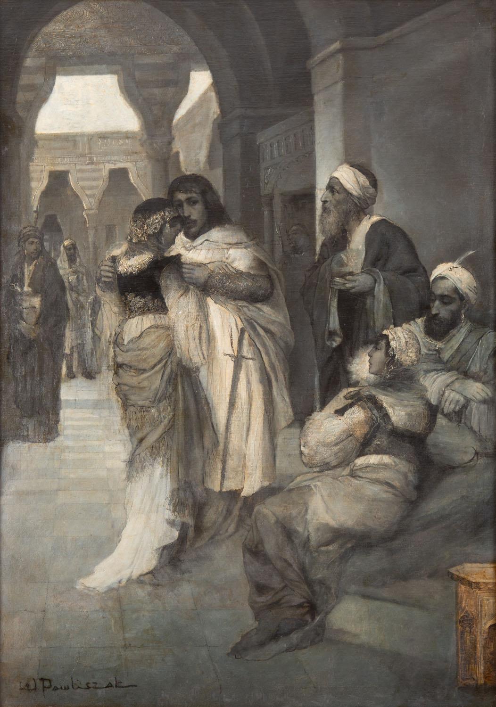 """Sittah, Sułtan i Natan oraz Recha (scena finałowa z """"Natana Mędrca"""" G. E. Lessinga, według obrazu Maurycego Gottlieba), około 1880-1886"""