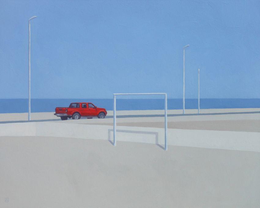 Czerwony pickup, 2020 r.