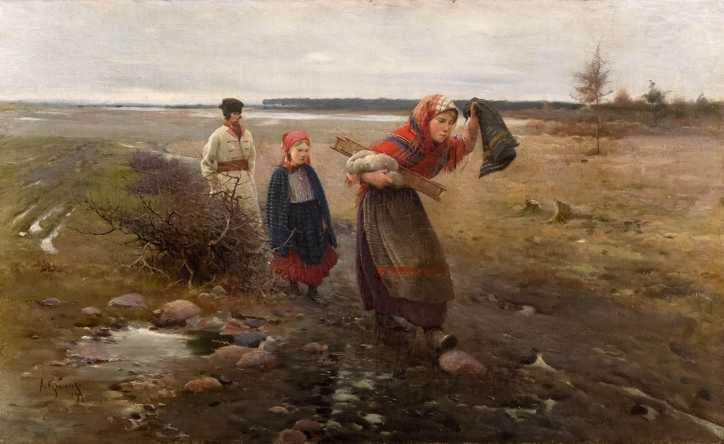 Na błotnistej drodze, 1890 r.