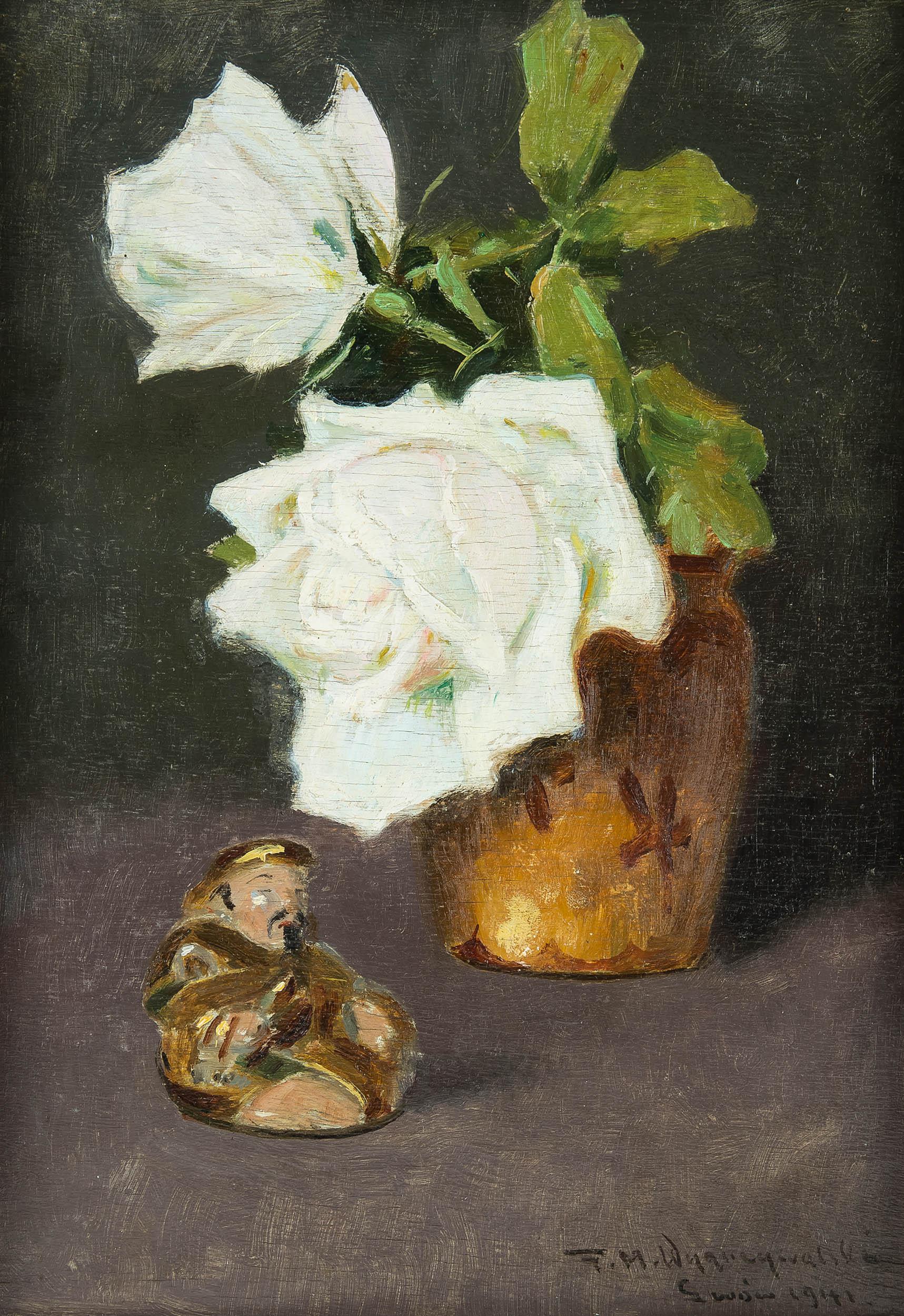 Kwiaty białej  róży i figurka buddy, 1941 r
