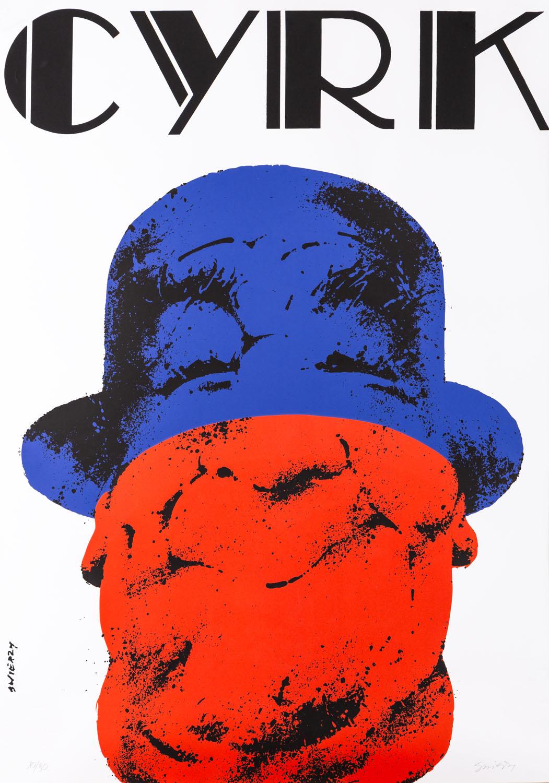 Klaun w kapeluszu - sitodruk kolorowy