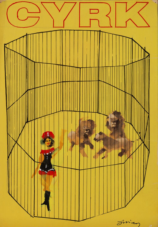 Projekt plakatu 'Treserka z lwami', około1964-65